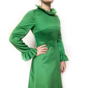 Vintage 60s Handmade Ruffle Gown